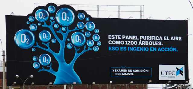 UTEC-billboard-cuts-pollution-Spanish-Peru